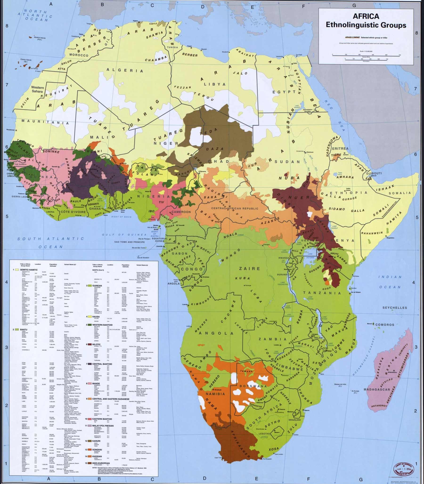 Этническая карта Африки
