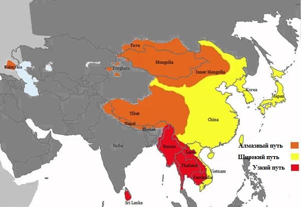 География буддийских течений