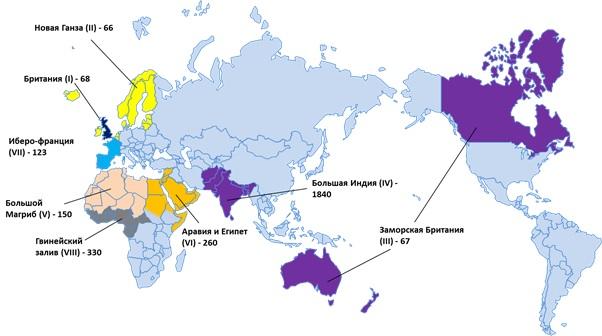 Территории экспансии и сотрудничества Британии