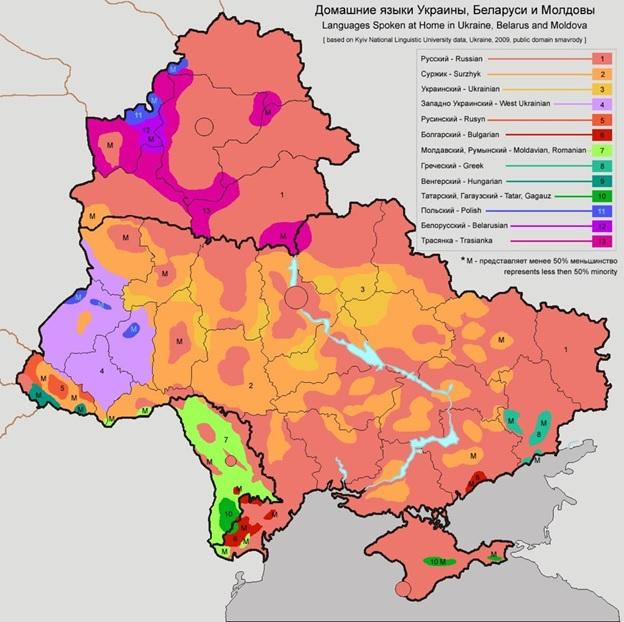 Карта домашних языков, 2009 год