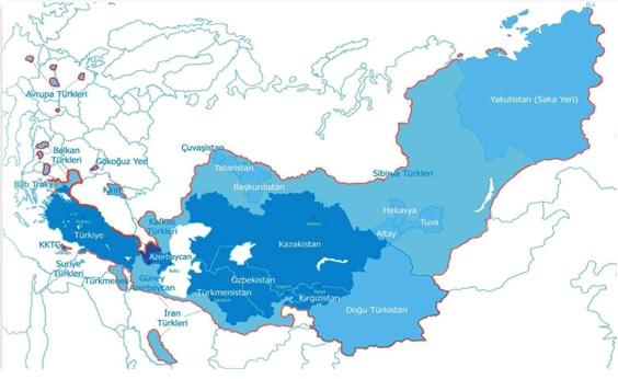 Ориентировочные границы Тюркского каганата 2035-2040 гг.